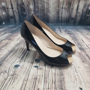 Tahari Black Patent Peep Toe Heels Size 7